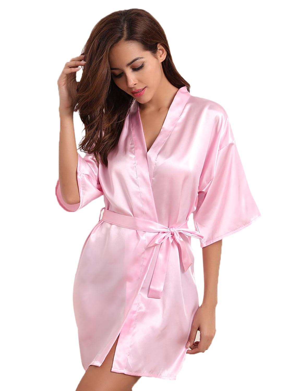 Aibrou Donna Pigiama Kimono, Scollo V Elegante Vestaglia Corta in Raso, Camicia da Notte con Cintura AM16062701