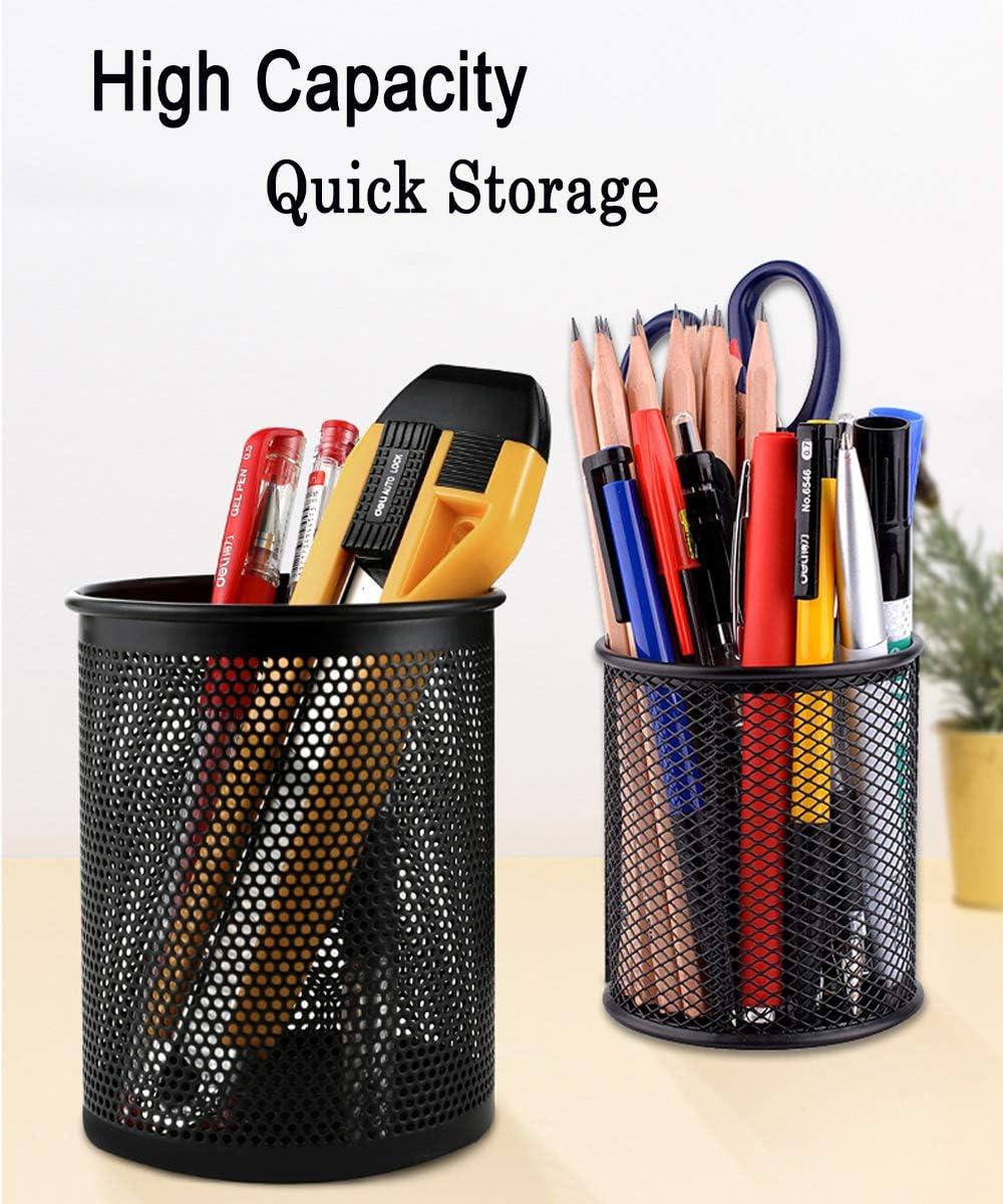 Qualsen Pen Holder 4 Pack Black Mesh Desk Organizer Pencil Holder