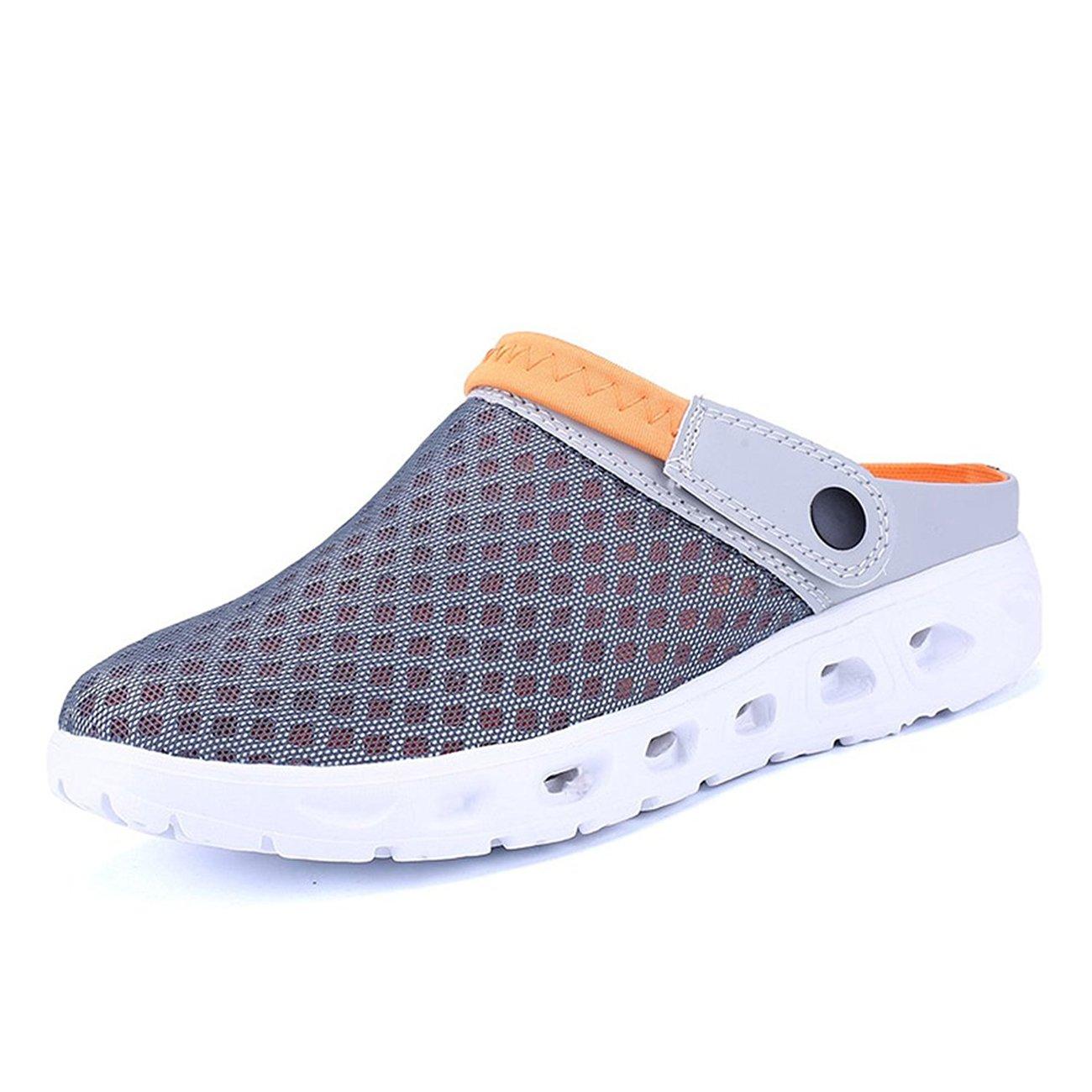 CCZZ Men's and Women's Summer Breathable Mesh Beach Sandals Slippers Quick Drying Water Shoes Amphibious Slip On Garden Shoes B07BWBJ6Z2 US 6.5=EU 39|Gray Orange