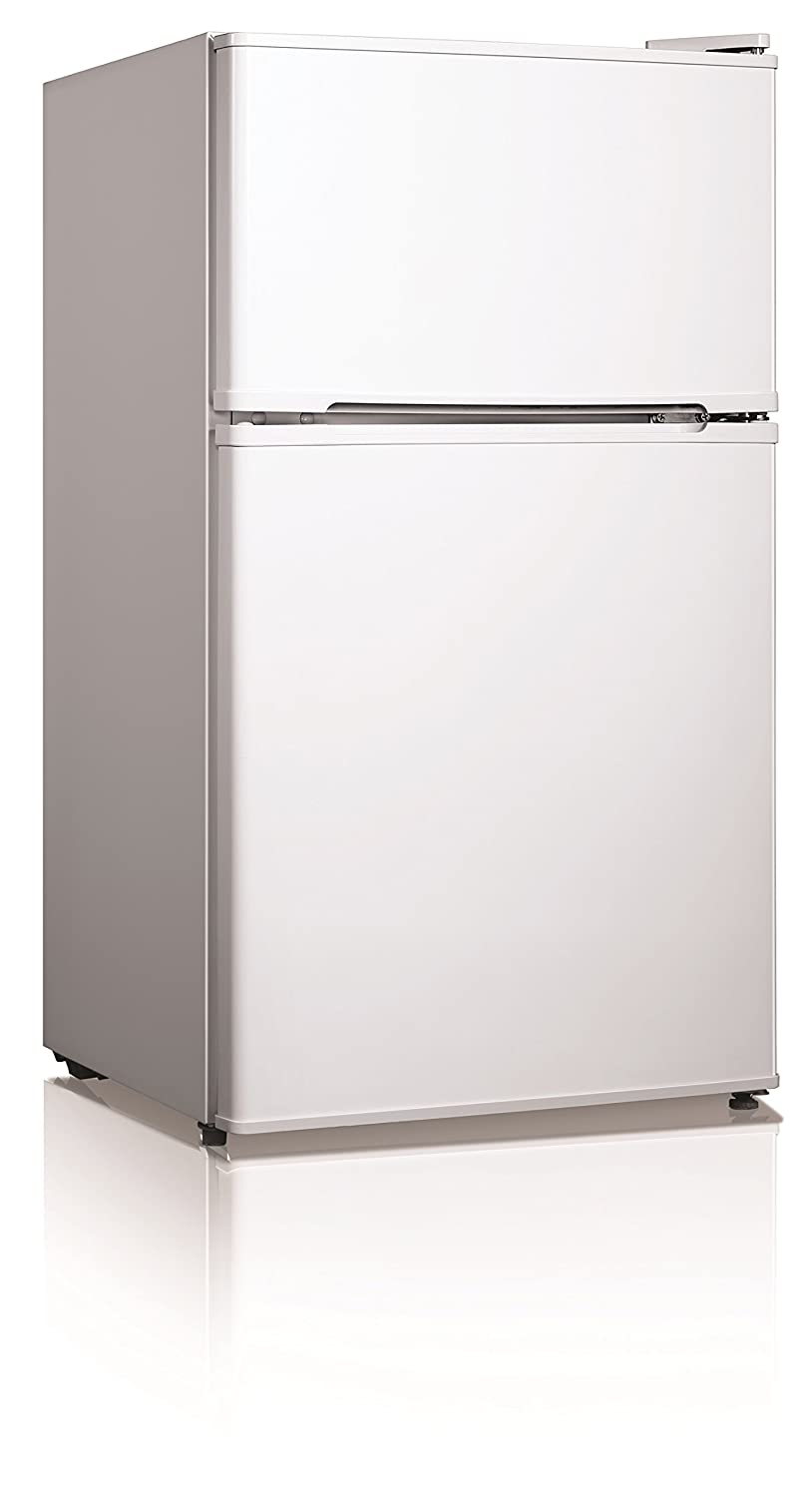 Midea WHD-125FW1 Compact Reversible Double Door Refrigerator, 3.4 Cubic Feet, White