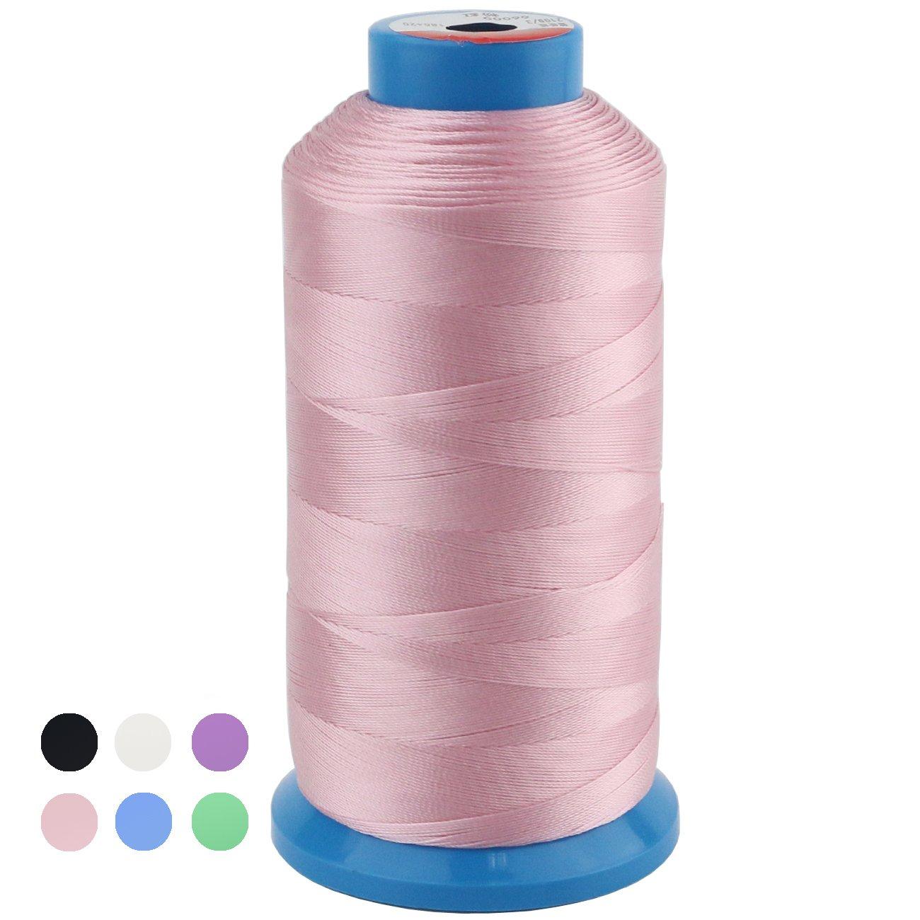 Ogrmar White Bonded Nylon Sewing Thread 1500 Yard Size T70#69 (White)