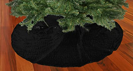 shinybeauty christmas tree skirt black48inch round sparkly sequin tree skirt beautiful tree