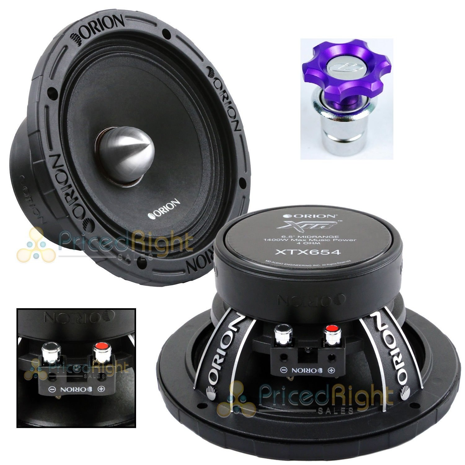 Orion XTX654 6.5'' 1400 Watts High Efficiency Midrange Mid Range Bass Loud 4 Ohm Car Audio Speakers - Pair with Free Cigarette Lighter Included