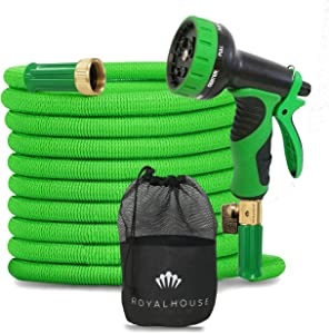 "ROYALHOUSE 100 FT Green Expandable Garden Hose Water Hose with 9-Function High-Pressure Spray Nozzle, Heavy Duty Flexible Hose - 3/4"" Solid Brass Fittings Leak Proof Design"