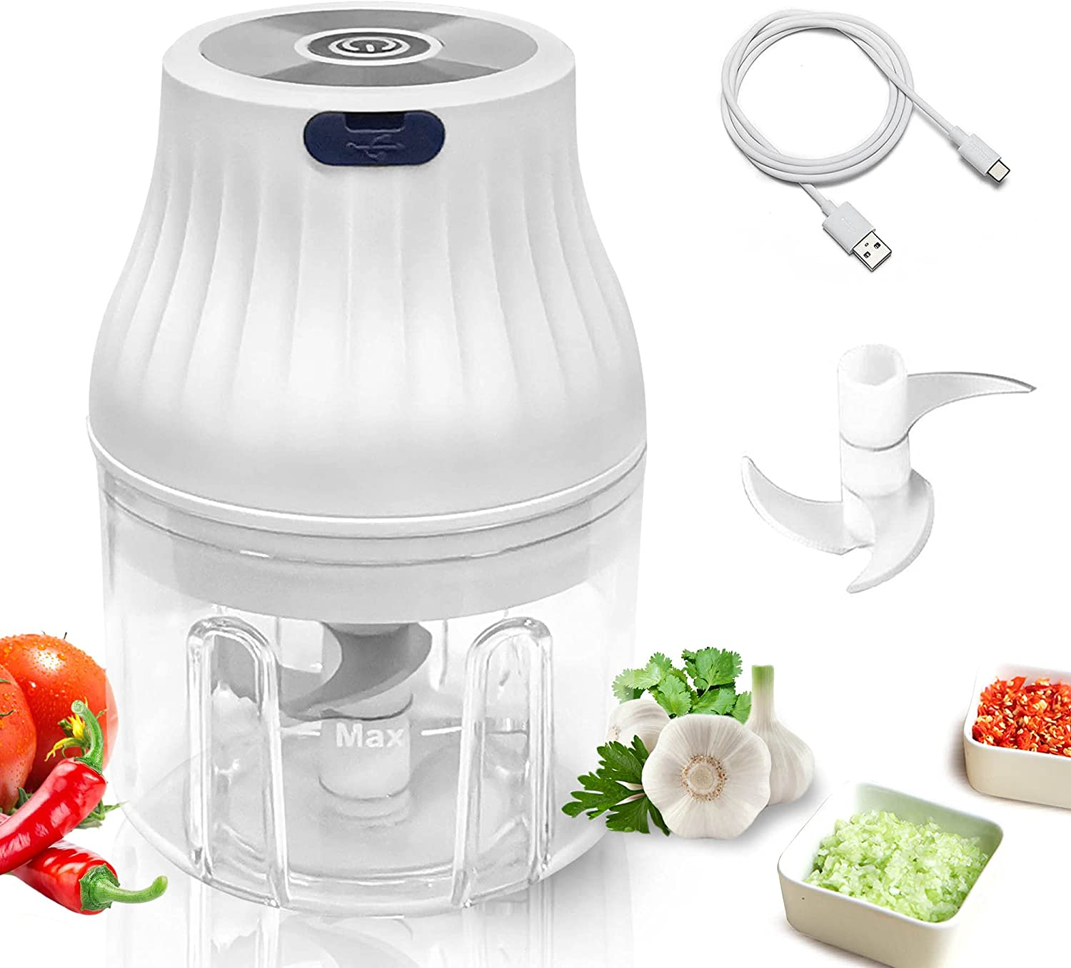 GleamyDot Electric Garlic Chopper, Rechargable USB Wireless Vegetable Mincer, Portable Mini Baby Food Processor with 3 Blades,300ml Powerful Blender For Meat,Chili,Onion ,Ginger