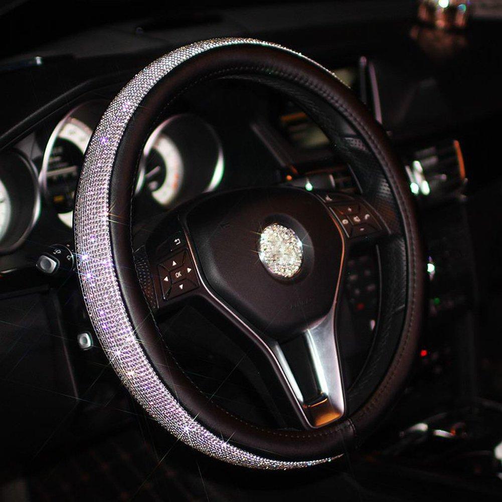 Bling Bling Rhinestones Car Steering Wheel Cover Leather Handcraft Steering Wheel Covers For Women Black UNLOCKGIFT