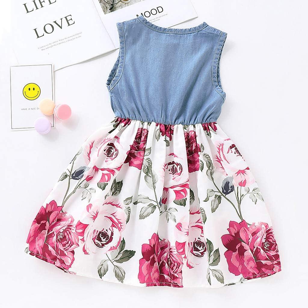 Julhold Kleinkind Art Baby M/ädchen Mode /Ärmellos Denim Floral Bedruckte Prinzessin Kleid Kleidung Sommer 1-5 Jahre Neu