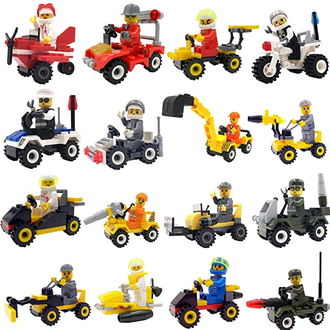 Minifigures Set with 16 Piece Vehicles Building Toy Bricks Construction Vehicles with Compatible Minifigures for Kids Party Favors