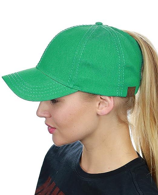275d57f9e C.C Ponycap Messy High Bun Ponytail Adjustable Cotton Baseball Cap, Kale  Green