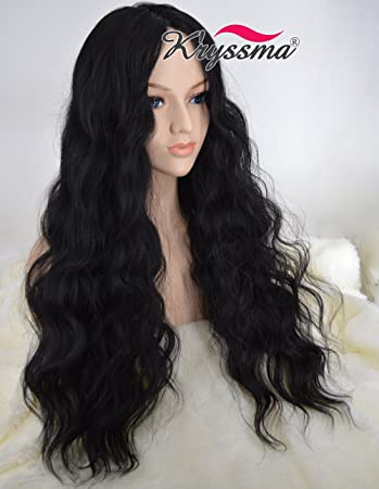 K ryssma Realistic Looking Cheap Wigs for Black Women Christmas Long Wavy  Full Machine Made 17673866a
