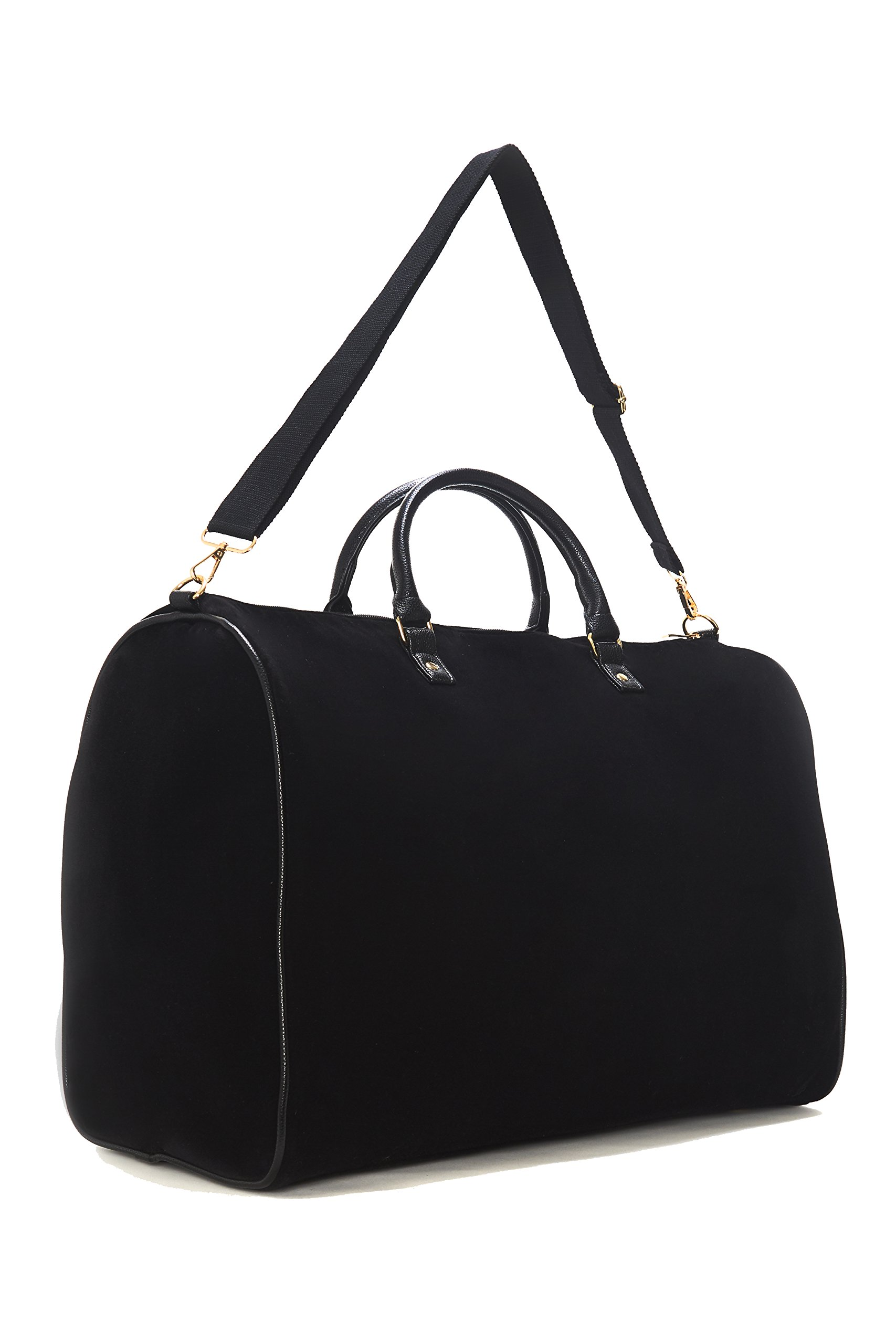 Limited Time Sale - Womens Black Velvet Weekender Bag, Duffle Bag, Overnight Bag, Travel Bag, Luggage, Large Tote Bag, Fashion Bag, Durable Bag, Best Handbag for women (Classic Black) - MSRP $99