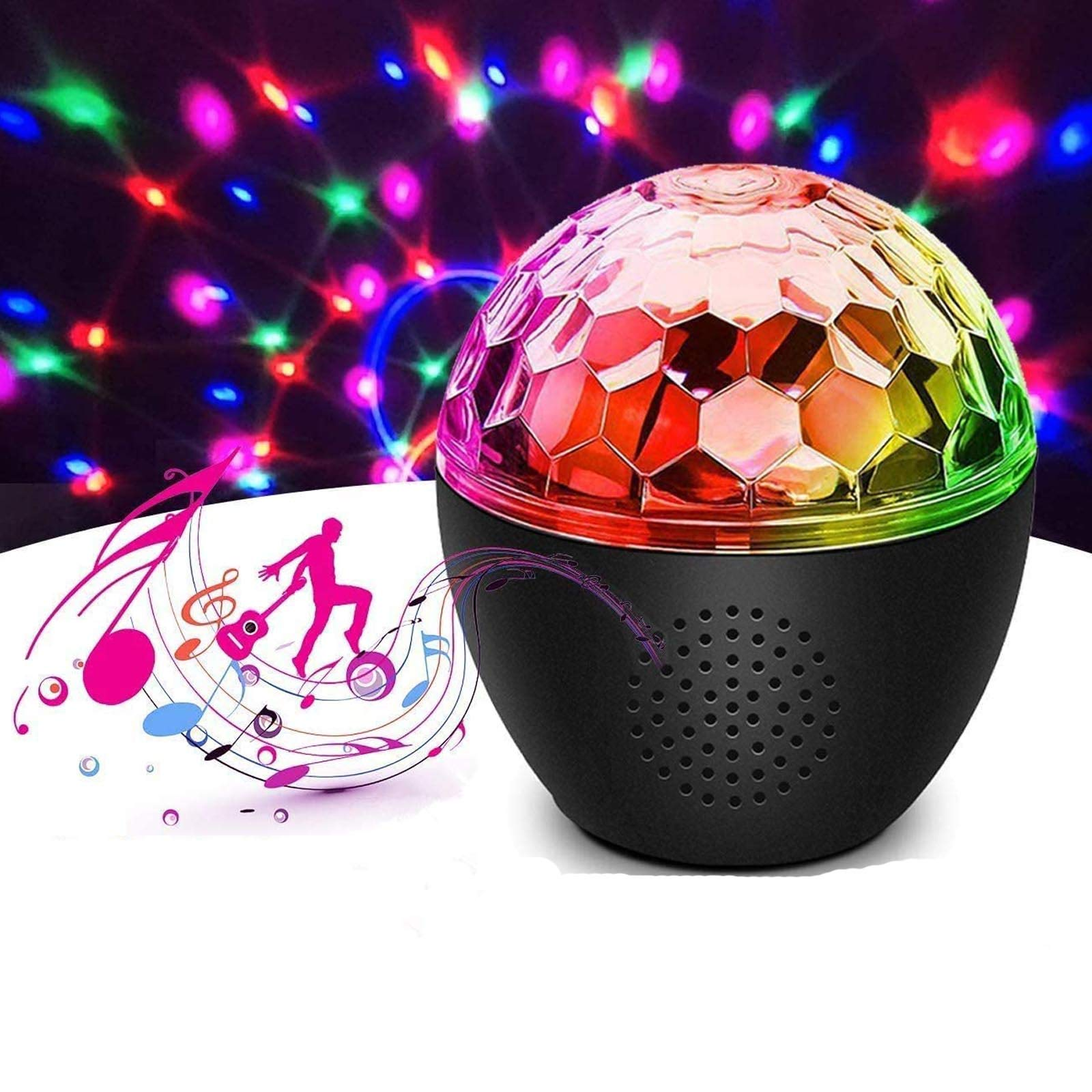 16 Colors Sound Activated Disco Ball Light,4W RGB Party Lights with Remote Control,Dance Lights Adjustable Light Brightness Rotation speed for Parties,Holidays,Birthdays,Baby Sensory(Built in Battery)