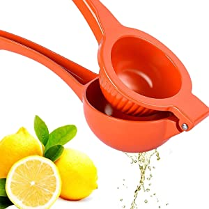 Premium Quality Metal Lemon Squeezer, Lime Juice Press, Manual Press Citrus Juicer For Squeeze The Freshest Juice - (Orange)
