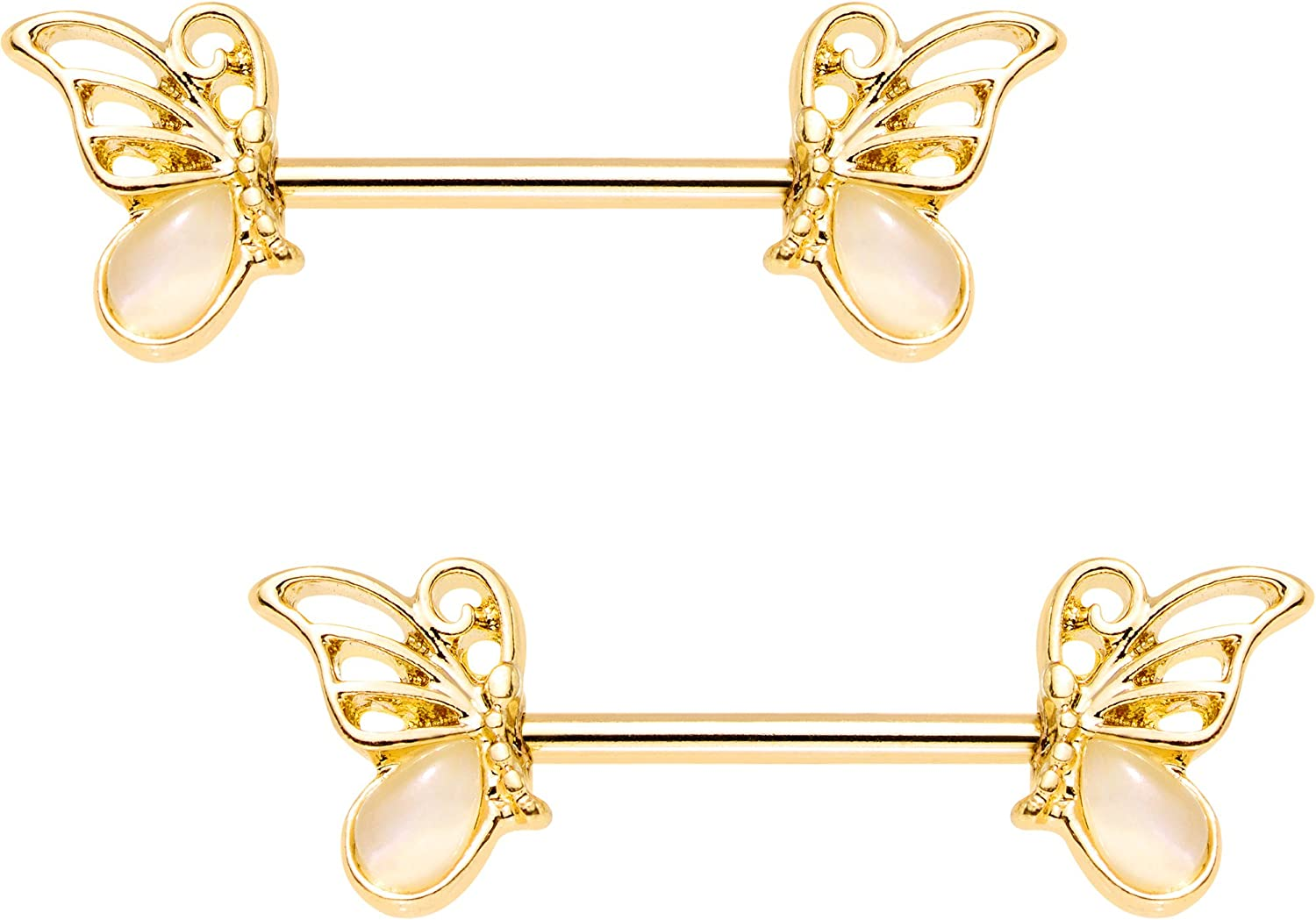 Body Candy 316L Anodized Steel Navel Ring Piercing Clear Accent Triple Butterfly Dangle Belly Button Ring