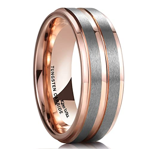 ed995503833 King Will DUO 8mm Unisex Rose Gold Tungsten Carbide Wedding Band Ring  Grooved Center High Polish