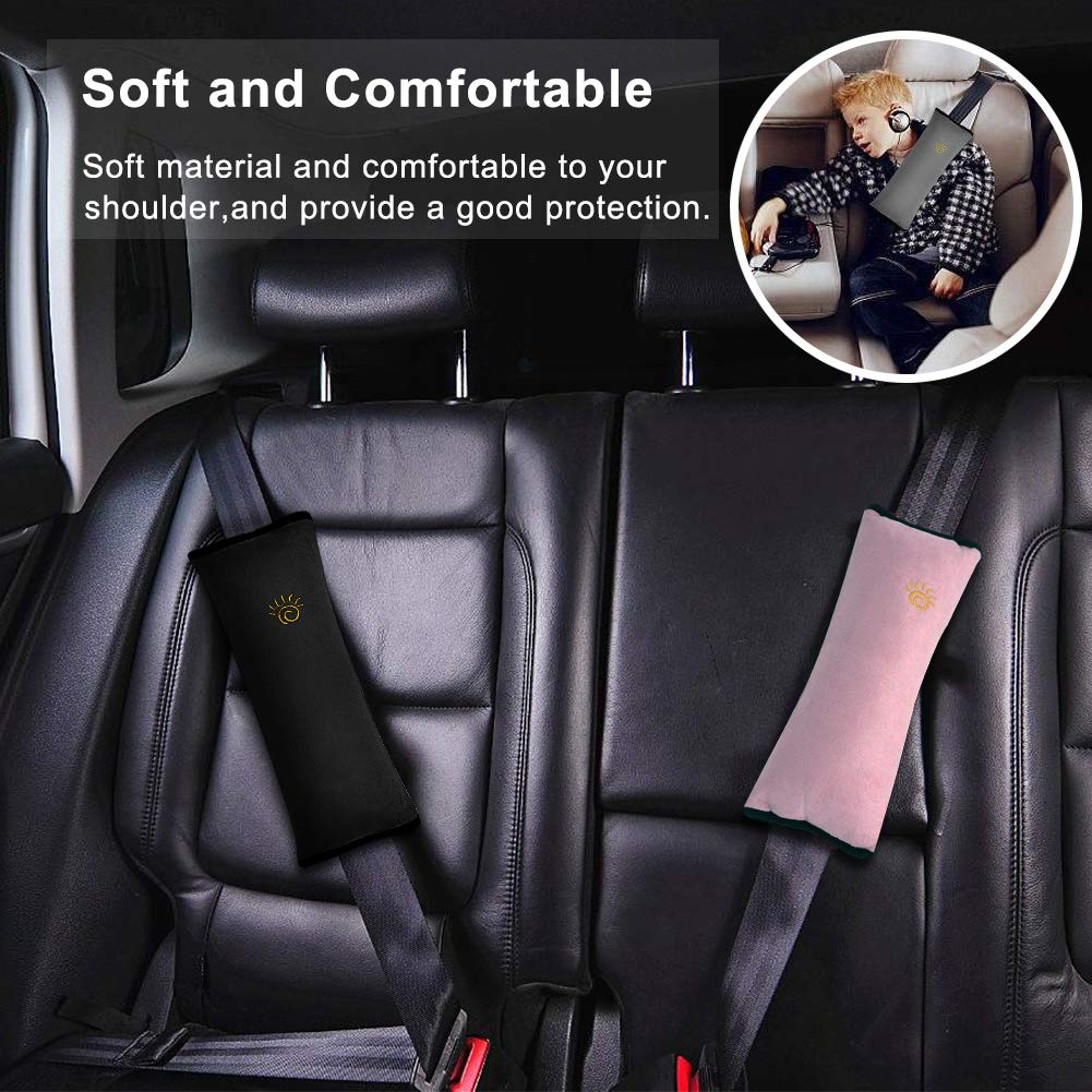【4 Pack】Car Seat Belt Pillow and Adjuster Kit for Kids,Adjustable Vehicle Shoulder Pads Safety Strap Protector Headrest Neck Support Cushion for Children,Thicker and Softer