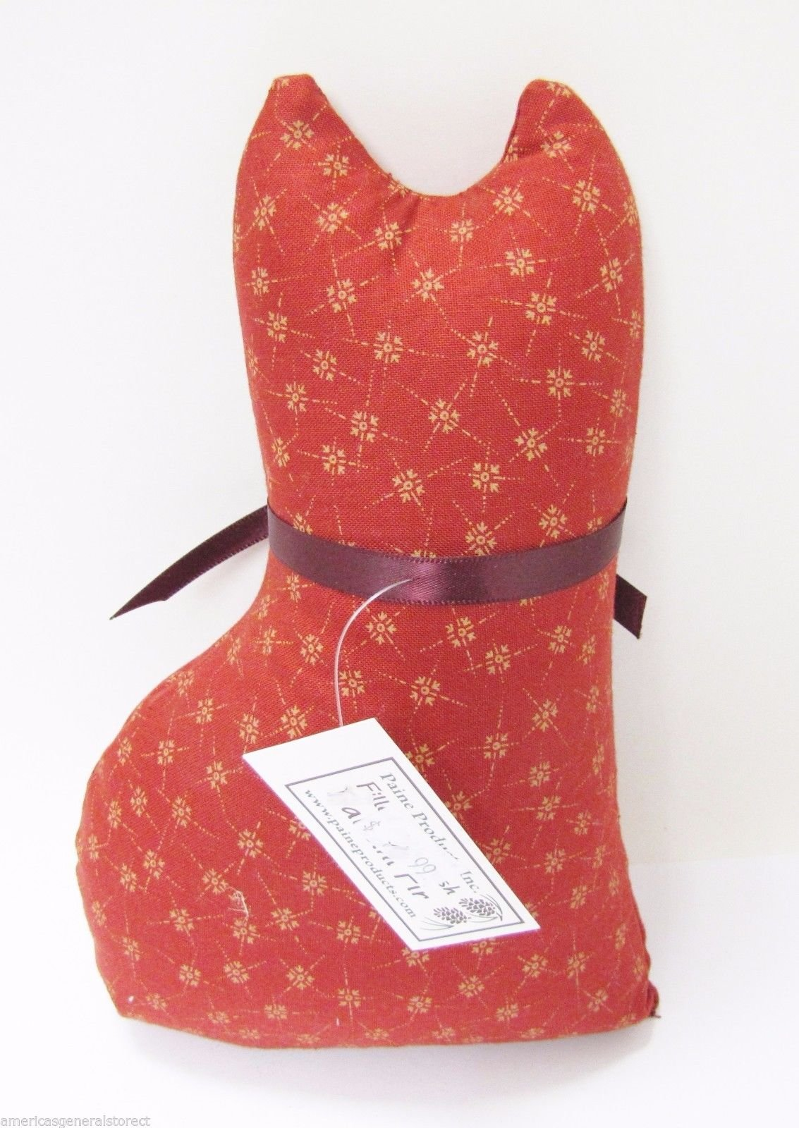 Paine's BALSAM FIR PILLOW 8''x4.5'' CAT SHAPE pine tree sachet scent RUSTY RED by Paine's (Image #2)