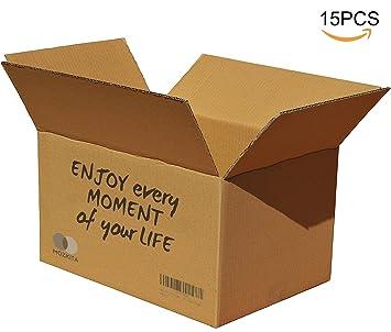 MOZKITA Pack 15 Cajas Cartón Reforzado Resistente Alta Calidad Mudanza Casa Hogar Almacenaje Transporte Papelería Oficina Marrón 430 x 300 x 250 mm ...