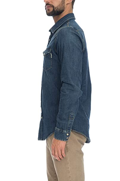 nuovo stile c0820 56a76 Camicia Jeans Uomo Roy Rogers Denim Dark Blu: Amazon.it ...