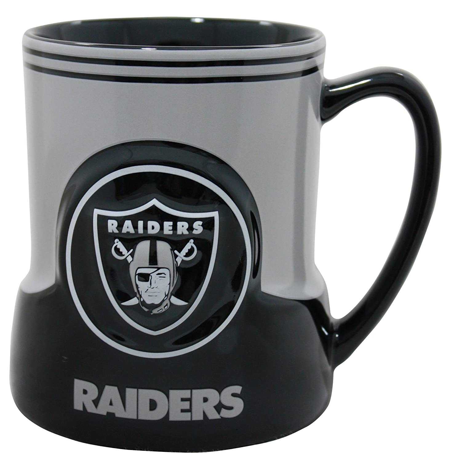 Oakland Raiders 18 Ounce Game Time Sculpted Logo Relief Coffee Mug