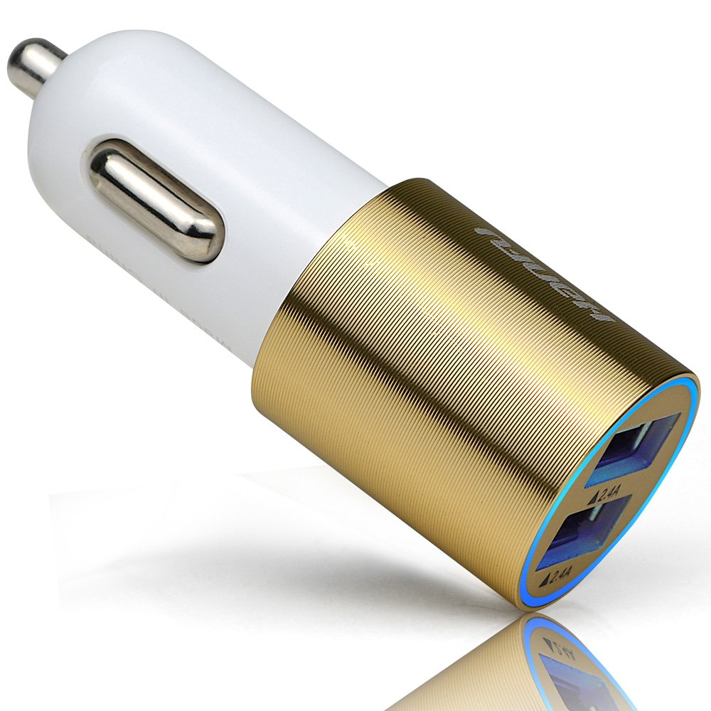 HanFu Car Charger 4.8A / 24W 2-port USB antistatic Car Adapter for IPhone 6S Plus 6 5SE 5S 5 5C 4S, Samsung Galaxy S7 S6 Edge(Gold)