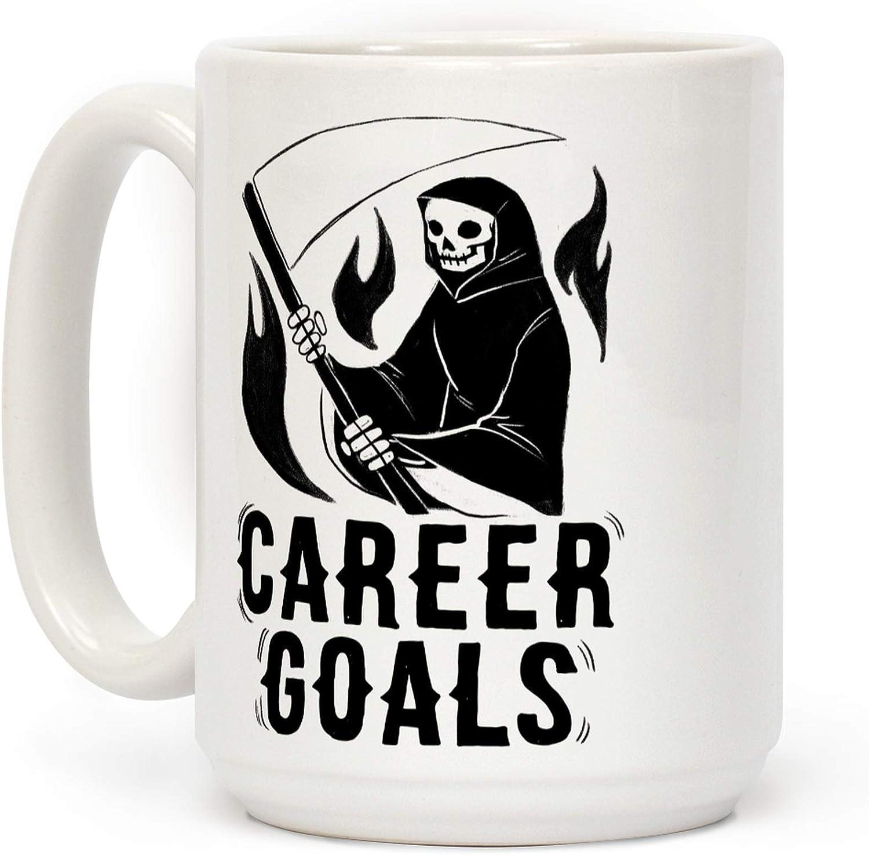 LookHUMAN Career Goals - Grim Reaper White 15 Ounce Ceramic Coffee Mug