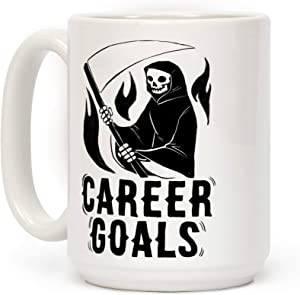 LookHUMAN Career Goals - Grim Reaper White 15 Ounce Ceramic Coffee Mug