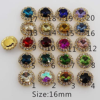 Best Quality - Buttons - New 10pcs 16mm Round 4-Holes Golden Metal Buttons  Diamante c65e6f45b768
