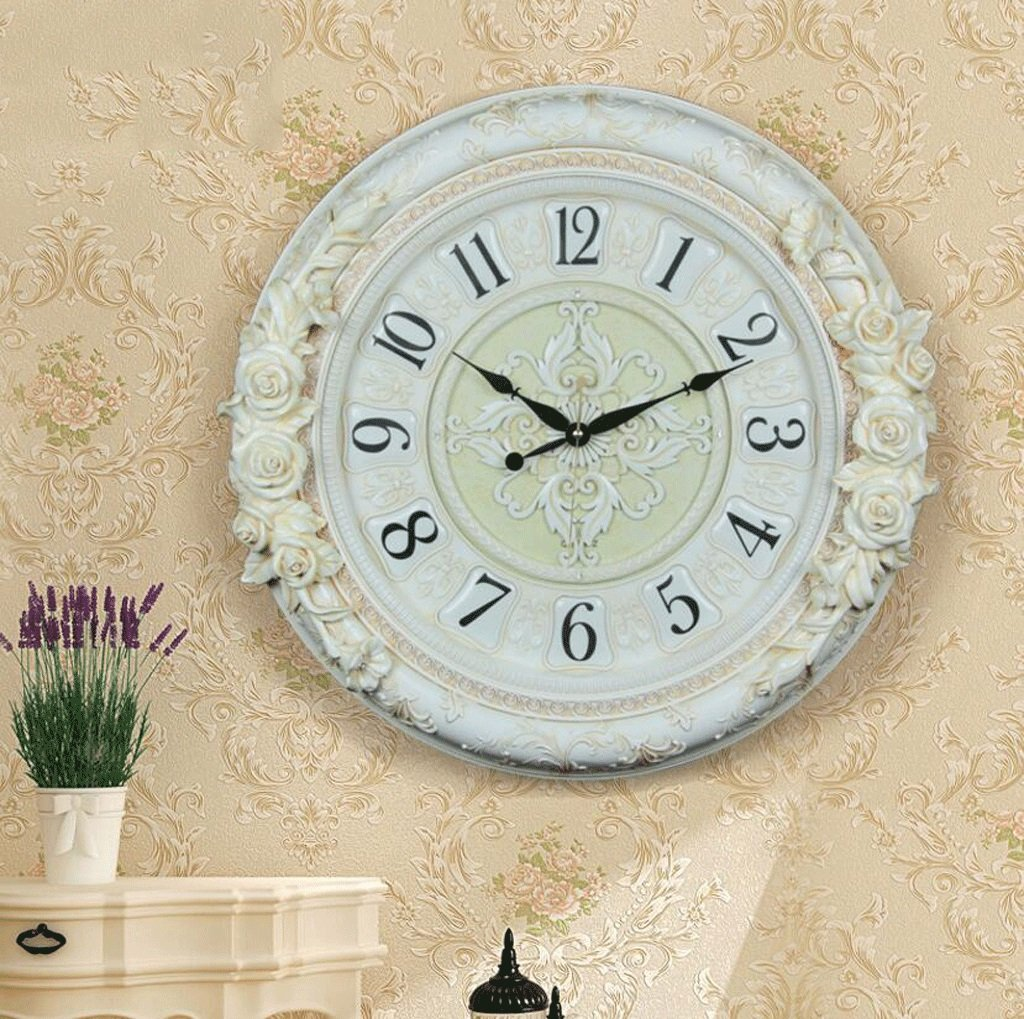 TXXM 大きな壁時計アメリカのレトロ装飾時計クォーツ時計リビングルームミュート牧歌的なファッションのアイデア (色 : B) B07F9VMQFN B B