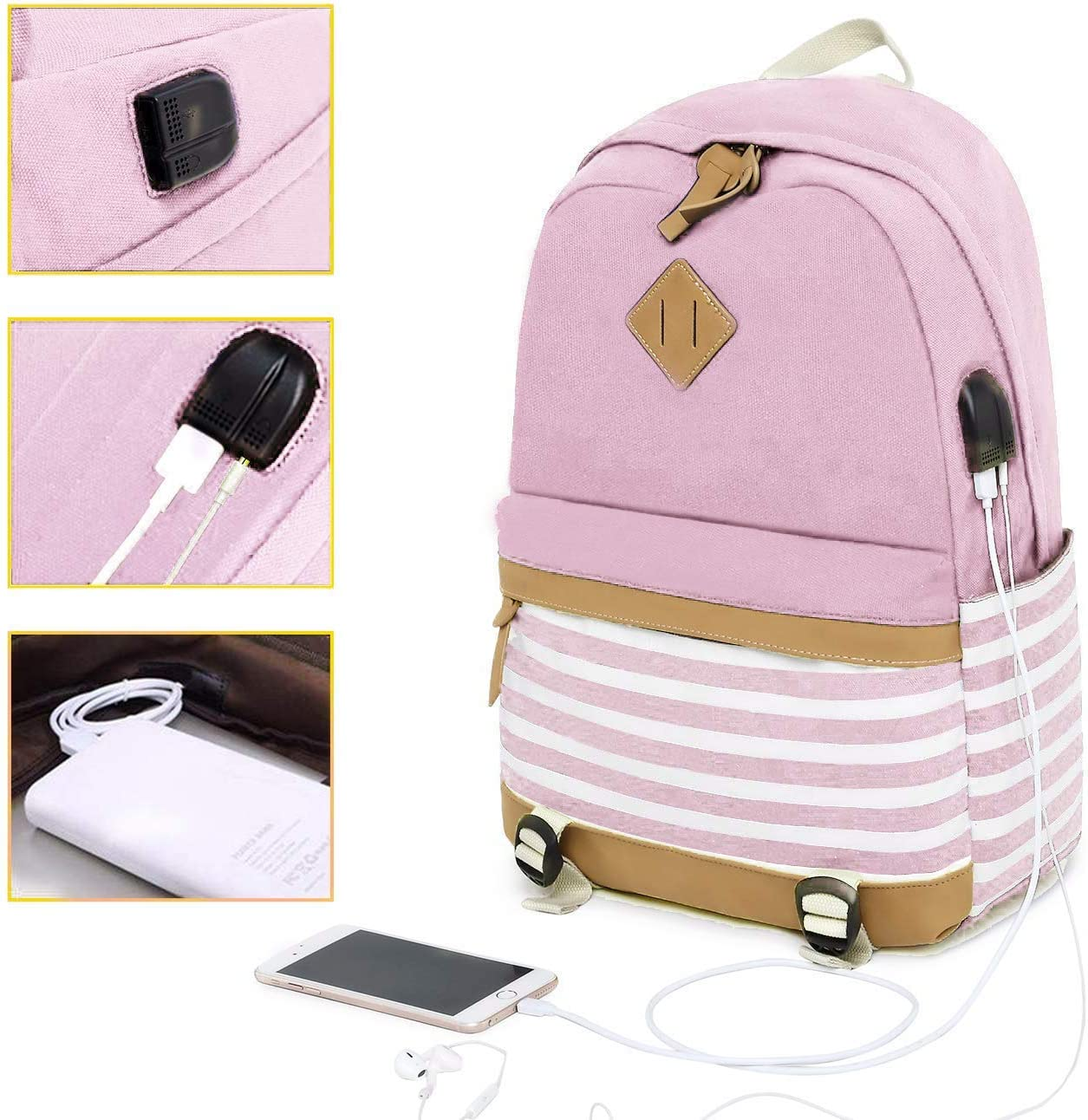 MUTANG Student Bag Shoulder Bag Canvas Backpack Fashion Printing Handbags Middle School Student Bag Striped Canvas Backpack with USB Charging Port