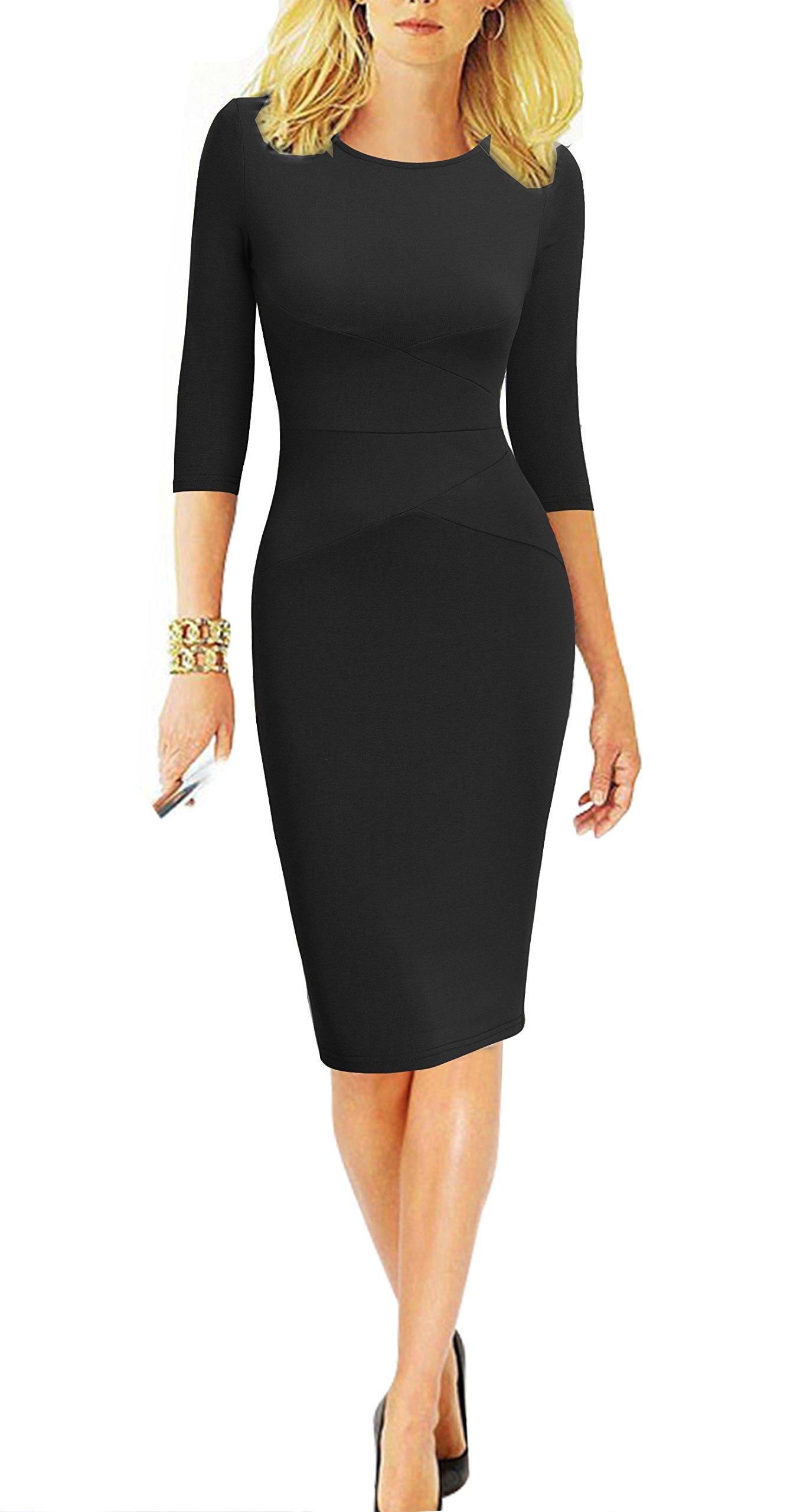 REPHYLLIS Women 3/4 Sleeve Striped Wear to Work Business Cocktail Pencil Dress (Medium, Pure Black)