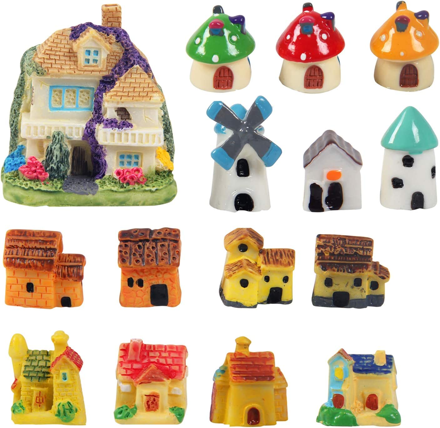 Kbraveo 15 Pieces Miniature Fairy Garden Stone House,Mini Resin House,Mini Fairy Cottage House for Garden,Patio Outdoor Décor