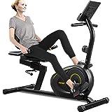 Merax Magnetic Recumbent Exercise Bike with Bluetooth   8-Level Resistance   Quick Adjust Seat