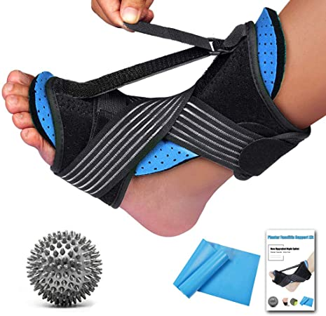 Black Heel or Ankle Ache Adjustable Elastic Dorsal Brace for Plantar Fasciitis Orthotic Foot Drop Brace Achilles Tendonitis with Massage Ball LIUMY Plantar Fasciitis Night Splint