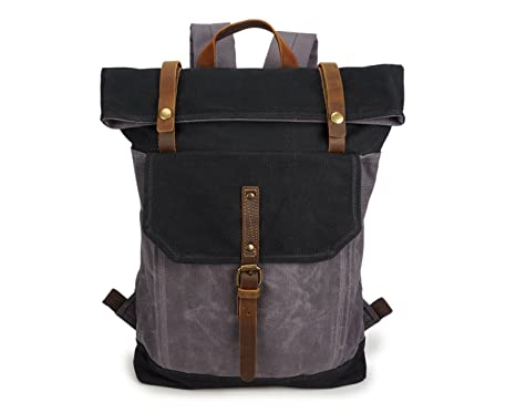 ZEEMOO Waxed Canvas Backpack Waterproof 15.6 Inch Laptop Backpack Casual  School Satchel College Bags Travel Rucksack 702c8dc1d9