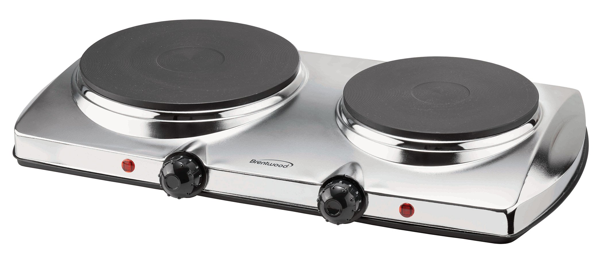 Brentwood TS-372 1440w Double Electric Hotplate, Silver