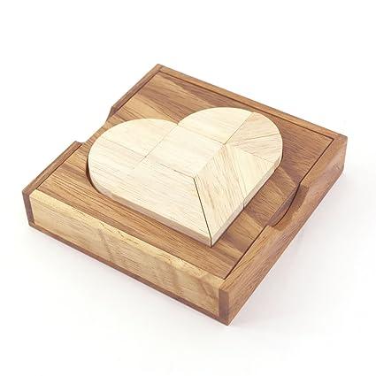 Amazoncom Broken Heart Tangram 2d Wooden Puzzle Brain Teaser Toys