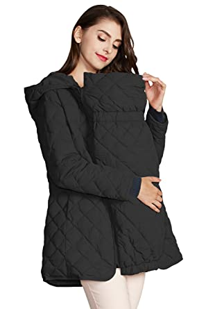 709f3bf7e951 CJ6094 Light down mother coat with baby pouch Black L (UK 14-16 ...