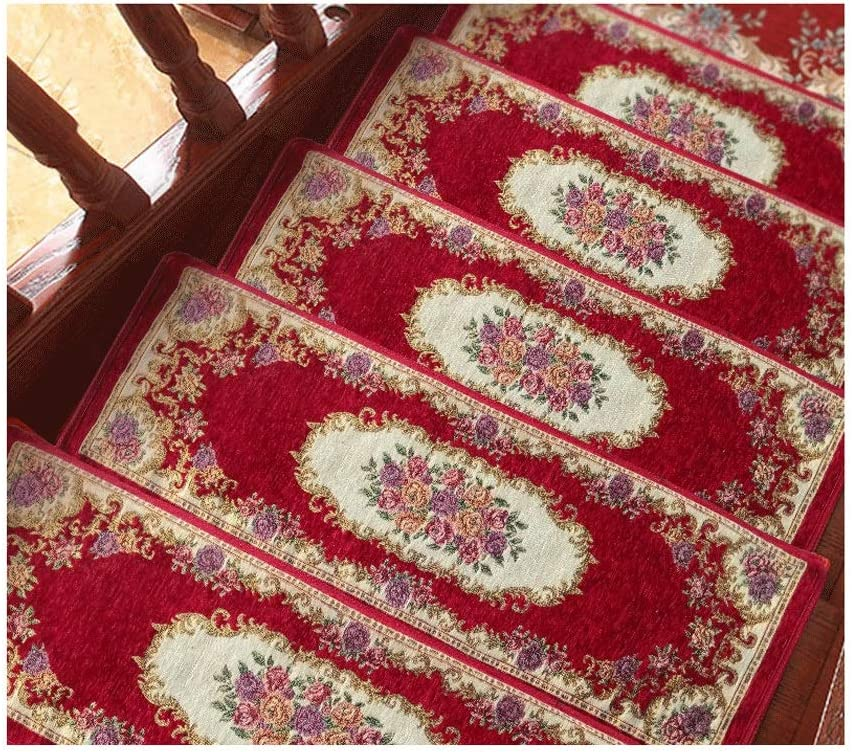 Anti Slip Treads,Skid Resistant Stair , Stair Treads Non Slip - Outdoor Skid Resistant Stair Set of 5/10/15 (2675CM) Beautiful Floral Design Stair Mats with Rubber Backing