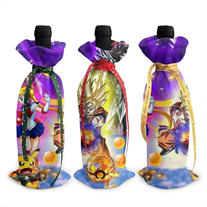 87655dwdsdwd Dragon Ball Sailor Moon Pikachu Christmas Red Wine Bottle Cover Bags Dinner Party Table Decor Xmas Gift Bag Champagne Holder Xmas Decor For Home Party Table Bar (3 Pcs): Amazon.es: Hogar