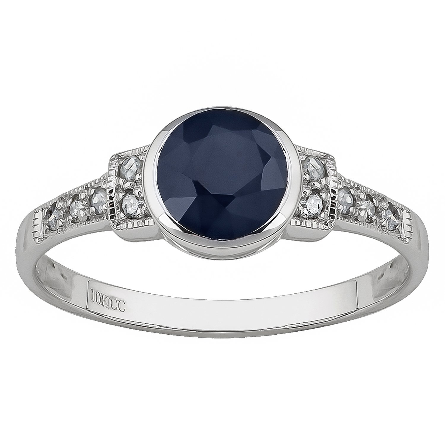10k White Gold Vintage Style Genuine Round Sapphire and Diamond Ring