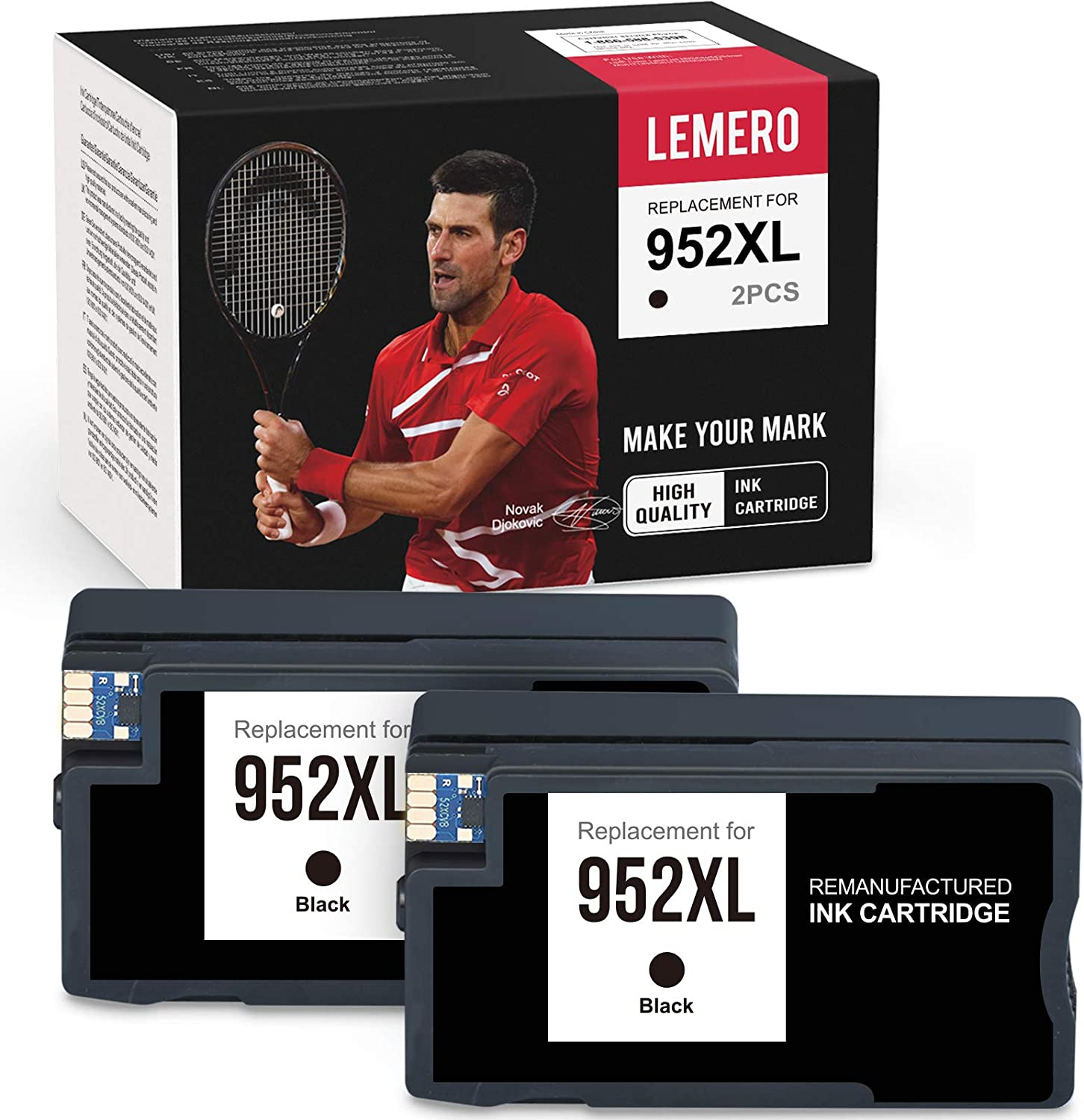 LEMERO Remanufactured Ink Cartridges Replacement for HP 952 952 XL 952XL to use with OfficeJet Pro 8710 8720 8702 7740 8200 8210 8715 8216 8700 8740 8730 7740 (2 Black)