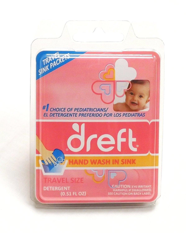 Dreft Baby Liquid Laundry Detergent Travel SINK Packets BEST VALUE - (18) .17oz Individual Packs