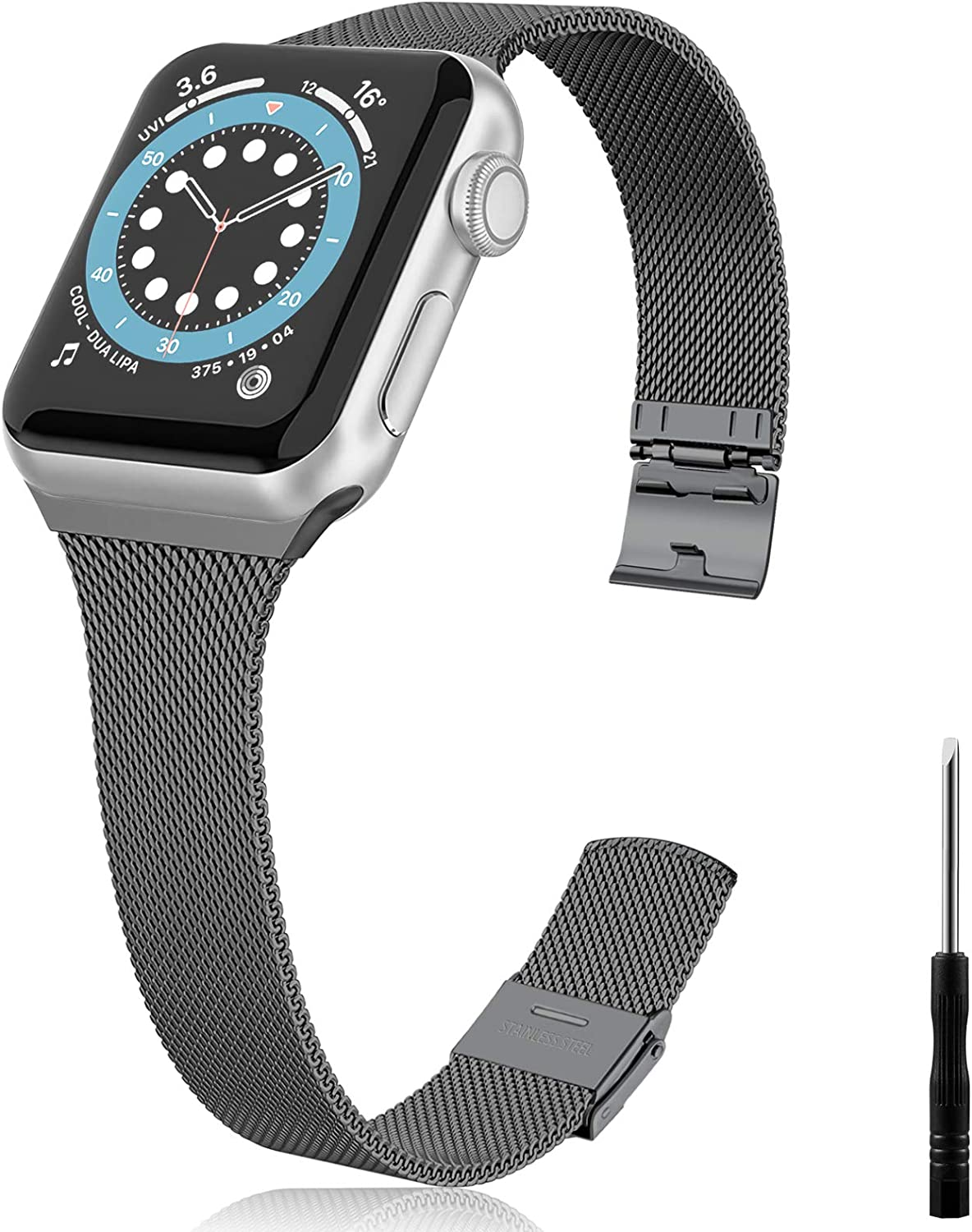 Vcegari Slim Band Compatible with Apple Watch 44mm, Stainless Steel Metal Mesh Replacement Wristband Ajustable Narrow Strap for iWatch 42mm SE & Series 6 5 4 3 2 1 Women Men, Space Gray