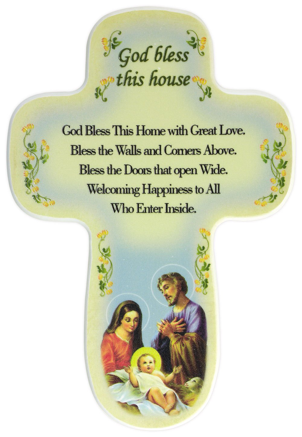 Amazon.com : Beautiful God Bless Our Home. Holy Family Cross Bless ...