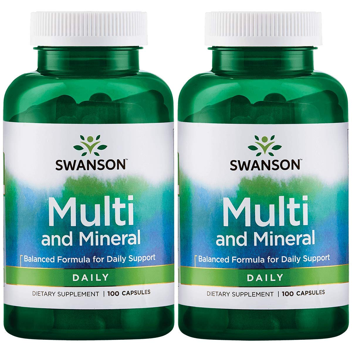Swanson Multi and Mineral Daily Men's Women's Multivitamin Multimineral Health Supplement 100 Capsules (Caps) (2 Pack)