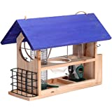 Outside Fun Charming Cedar Wood Deluxe Blue- Bird House Feeder with Multi Perch and Feeding Compartments