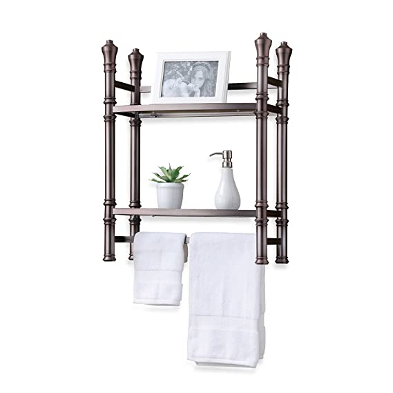 nice Brushed Nickel Bathroom Etagere Part - 15: Amazon.com: Best Living Wall Mount Versatile Bathroom Maximizes Space Saver  tempered Glass Shelves in Brushed Titanium Finish: Home u0026 Kitchen