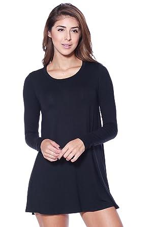 c463363d5bd A+D Womens Casual Long Sleeve Jersey Knit Flowy Tunic Dress (Black, Small