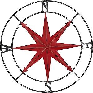 aboxoo Round Metal Compass Decorative Compass Metal Wall Art Hanging Wall Sculpture 28 Inch Diameter Farmhouse Decor Indoor or Outdoor Sign